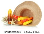 bottles with suntan cream in... | Shutterstock . vector #156671468