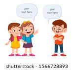 happy cute kid girl and boy... | Shutterstock .eps vector #1566728893