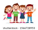 happy cute kids boy and girl... | Shutterstock .eps vector #1566728953