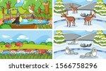 background scenes of animals in ... | Shutterstock .eps vector #1566758296