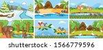 background scenes of animals in ... | Shutterstock .eps vector #1566779596