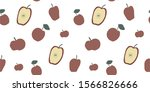 vector pattern with red apples...   Shutterstock .eps vector #1566826666
