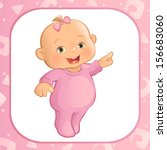 pointing baby girl  vector  | Shutterstock .eps vector #156683060