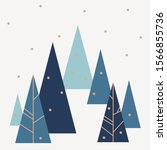 winter fir tree forest covered... | Shutterstock .eps vector #1566855736