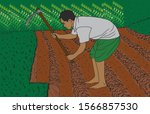 hoeing land by indian farmer | Shutterstock .eps vector #1566857530