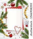 illustration with pine  balls ... | Shutterstock .eps vector #1566908203