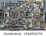 abstract factory or steampunk...   Shutterstock .eps vector #1566914176