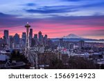 A beautiful view of the city of Seattle, USA underneath the breathtaking colorful sky - stock photo