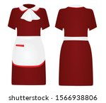 Red Maid Uniform. Vector...