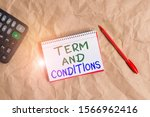 Small photo of Word writing text Term And Conditions. Business concept for Policies and Rules where one must Agree to Abide Papercraft craft paper desk square spiral notebook office study supplies.