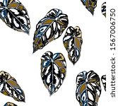 seamless pattern with tropical... | Shutterstock .eps vector #1567006750