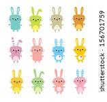 cute bunny vector   Shutterstock .eps vector #156701759