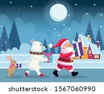 santa claus and cute christmas... | Shutterstock .eps vector #1567060990