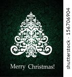 vintage xmas greeting card | Shutterstock . vector #156706904