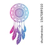 Dream Catcher With Feathers In...