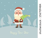santa claus with christmas tree   Shutterstock .eps vector #156709484