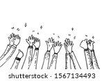 doodle hands up hands clapping. ... | Shutterstock .eps vector #1567134493