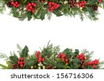 christmas floral border with... | Shutterstock . vector #156716306