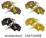 ornate lion and tiger heads | Shutterstock .eps vector #156716408