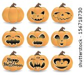 vector set. pumpkins. | Shutterstock .eps vector #156718730