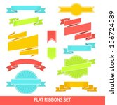 vector set of flat  ribbons and ... | Shutterstock .eps vector #156724589