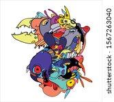 vector abstract cartoon doodle... | Shutterstock .eps vector #1567263040