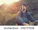 portrait of adventure man with... | Shutterstock . vector #156727028