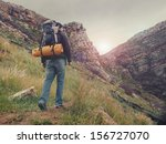 adventure man hiking wilderness ... | Shutterstock . vector #156727070