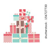 vector gift wrapping collection.... | Shutterstock .eps vector #156727730