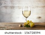 Glass White Wine Vintage Wooden - Fine Art prints