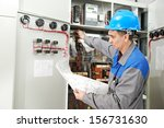 one electrician builder at work ... | Shutterstock . vector #156731630