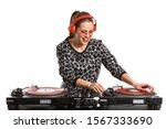 Female Dj Playing Music On...