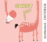 giraffe polka text line orange...   Shutterstock .eps vector #1567338136