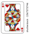 a playing card queen of hearts... | Shutterstock . vector #1567373746