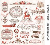 set of christmas decorative... | Shutterstock .eps vector #156740216