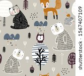 semless woodland pattern with... | Shutterstock .eps vector #1567407109