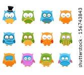 retro owl set   Shutterstock .eps vector #156743843