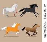 horse poses set | Shutterstock .eps vector #156745349