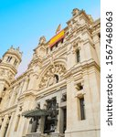 The main facade of the City Council of Madrid, Communications Palace, located at Cibeles Square. Madrid, Spain.