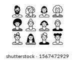 outline people. face avatars....   Shutterstock .eps vector #1567472929