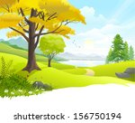 scenic countryside lake view | Shutterstock .eps vector #156750194
