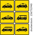 set of cars with taxi symbol on ... | Shutterstock . vector #156751940