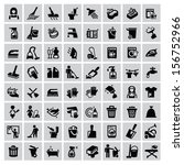 vector black cleaning icons set ... | Shutterstock .eps vector #156752966