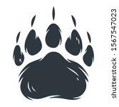 Dark Silhouette Of Bear Paw...