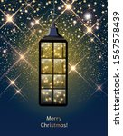 vintage lantern with led string ... | Shutterstock .eps vector #1567578439