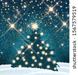 dark silhouette of christmas... | Shutterstock .eps vector #1567579519