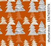 seamless pattern white fir tree ... | Shutterstock .eps vector #1567605376