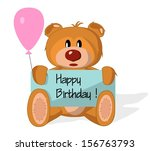 bear toy with congratulation on ... | Shutterstock .eps vector #156763793