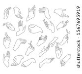 one line hands vector drawing.... | Shutterstock .eps vector #1567695919