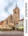Small photo of Erfurt, Thuringia, Germany - September 16, 2019: Church of St. Aegis (Agidienkirche) at Wenigemarkt.